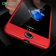 OICGOO Luxury 360 Degree Cases For iPhone 7 6 Case 7 6S Plus With Tempered Glass Red Full Cover For iPhone 6 6s Case Capa Coque //Price: $9.95 & FREE Shipping //     #hashtag2