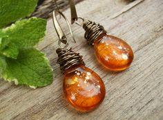 Orange Teardrop Earrings Gold Metallic Picasso by BonArtsStudio