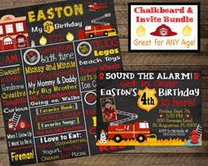 Firefighter Birthday Invite Fireman invitation boy first Fireman Party, Firefighter Birthday, Boy First Birthday, Birthday Board, Birthday Party Decorations, Party Themes, All About Me Poster, Chalkboard Poster, Birthday Chalkboard