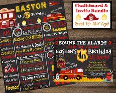 Firefighter Birthday Invite Fireman invitation boy first Fireman Party, Firefighter Birthday, Boy First Birthday, Birthday Board, All About Me Poster, Chalkboard Poster, Birthday Chalkboard, Firetruck, Kid Names