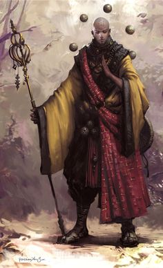 m Monk Robes Staff traveler forest hills snow trail Hava elementi ile banglari havada tutuyor Fantasy Warrior, Fantasy Rpg, Fantasy Artwork, Fantasy World, Fantasy Character Design, Character Concept, Character Art, Concept Art, Dnd Characters