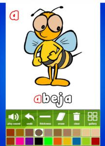 Spanish alphabet coloring app has no ads, no in-app purchases and no English!