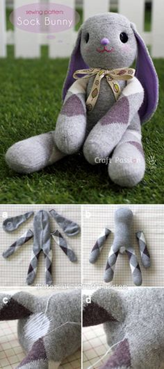 Lop Eared Sock Bunny Tutorial #craft #Easter #decor #sock_bunny