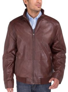 Luciano Natazzi Men's Lambskin Leather Vintage Washed Moto Jacket Brown  #MensJackets #MensLeatherJackets #MensSuit #MensSuitHabit