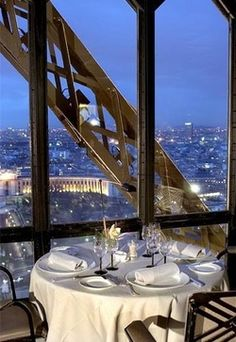 A romantic dinner at Le Jules Verne restaurant of the Eiffel Tower, Paris