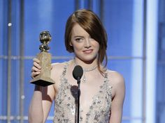 """Emma Stone accepts the award for Best Actress in a Motion Picture - Musical or Comedy for her role in """"La La Land"""" onstage during the 74th Annual Golden Globe Awards at The Beverly Hilton Hotel on Jan. 8, 2017 in Beverly Hills, Calif."""