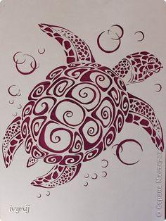 Вырезание: Большая черепаха! Бумага. Фото 2