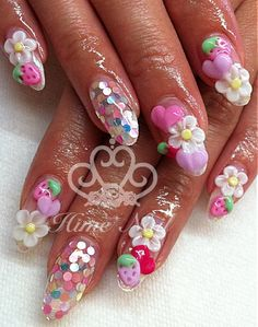 Glitter Nails With Hearts Strawberries And Flowers Www Himenail By Anese Nail Artist Located In Tustin Ca
