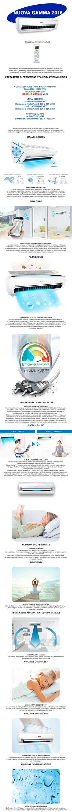CLIMATIZZATORE TRIAL SPLIT SAMSUNG INVERTER AR5500M SMART WIFI 9+9+12 AJ068FCJ3EH/EU AR5500 The New Generation Store