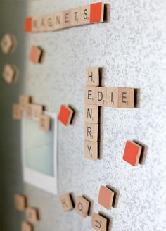 Wouldn't this be a cool bulletin board in the classroom? An interactive, ongoing game of scrabble...
