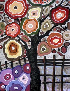 Blooming Tree Original Acrylic Painting Landscape Trees Canada -Modern paintings art