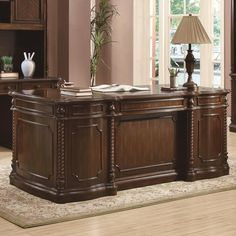 Check out the Coaster Furniture 801151 Webb Double Pedestal Desk with Rope Molding and Raised Panels in Walnut Used Office Furniture, Corner Furniture, Home Office Chairs, Office Table, Office Decor, Luxury Furniture Brands, Furniture Sale, Cheap Furniture, Wood Furniture