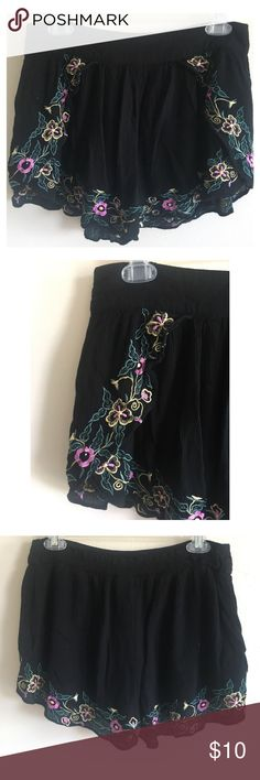 Pins and Needles Embroidered Festival Shorts Purchased from Posh but I have never worn these flounce shorts! Ended up not being my style. Perfect for lounging around...wear to brunch or dancing at a festival! In great condition! Pins and Needles Shorts