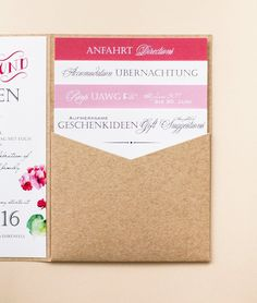 Four insets printed on one side, in pocketfold (envelope bag) - Wedding Ideas Pocketfold Invitations, Wedding Invitations, Seating Charts, Wedding Stationery, Save The Date, Wedding Cards, Wedding Colors, Party Favors, Dream Wedding
