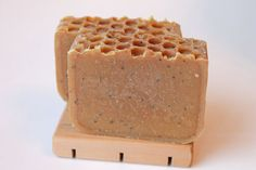 Lemon Eucalyptus Honeycomb Soap, made with organic oils, organic shea butter, beeswax, honey, exfoliating