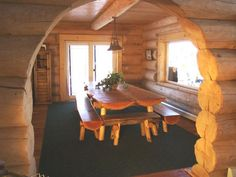 Finished Log Home Interiors ~ Canada's Log Home People ~ Beautiful Log Homes
