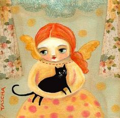 Redhead with black cat