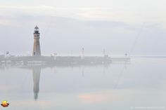 Dreamy Lighthouse, Buffalo Main Light in Fog, Buffalo, NY: The weather forecast called for fog the night before and a friend was visiting who also likes photography. A plan was born to meet at the marina well before sunrise. I did not want to miss the brief moments of colors at daybreak and found myself on the waterfront well before 6 a.m. in a pitch black darkness ... #etbtsy #buffalony #buffalolight #buffalomainlight #lighthouse #lakeerie
