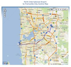 Perth International Airport to Fremantle Driving Directions Map Perth Australia, Western Australia, Perth Airport, Hill Park, Driving Directions, City Beach, Airports, International Airport