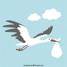 Stork with a Baby Free Vector