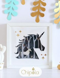 Cat Paper shadow box with LED light Sculpture in 2021