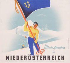 Vintage ski poster - Winter in Niederösterreich 1953 - Maschek, Rudolf