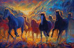 Freedom Pass  oil on canvas  24 x 36 Return of the Wild Horses Ritch Gaiti www.Gaiti.com
