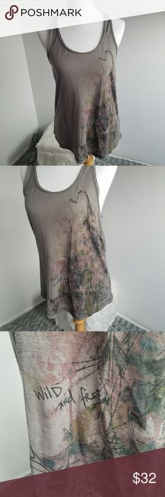 Free People Wild and Free Wolf Tank Size Medium Knit back tank top by Free People. Size medium. (C16) Free People Tops Tank Tops