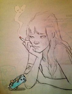 chiara bautista. girl. smoking. sad heart. ashtray dog.