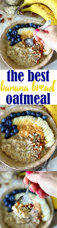Rise and shine for the irresistibly delicious Best Banana Bread Oatmeal you've ever tasted! This gluten free, vegan, nutritious morning meal is sweetened naturally with banana and loaded with banana bread yumminess! (desserts with oats banana bread) Banana Oatmeal Recipe, Banana Recipes, Oatmeal Recipes, Oatmeal Cups, Baked Oatmeal, Breakfast And Brunch, Breakfast Ideas, Breakfast Dishes, Lactose Free Diet