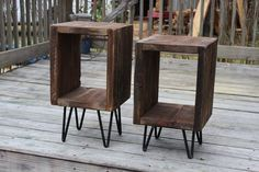 Pair of end tables, side tables, reclaimed wood , night stands, plant stands, entry tables, hairpin legs, industrial side tables