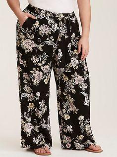 06dedde827765 Plus Size Black Floral Wide Leg Challis Pant