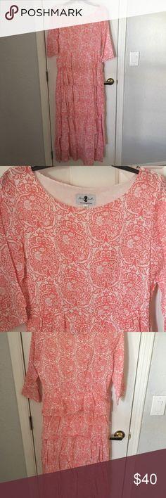 "Dainty Jewell's coral floral/damask long dress Dainty Jewell's dress. Beautiful coral floral/damask design. Zipper under left arm. 45% linen 55% viscose 54"" long. Dainty Jewells Dresses Long Sleeve"