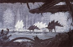Stegosaurs by Douglas Henderson. Henderson is well known among dinosaur artists for his calm, atmospheric paintings.