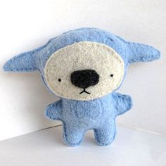 Blue Foo always goes grocery shopping while hungry. Last time he brought back a jar of nutella, wasabi peas and a lemon cake. This hungry Foo Wasabi Peas, Softies, Dinosaur Stuffed Animal, Recycling, Plush, Teddy Bear, Embroidery, Wool, Nutella
