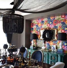 I think it's time to whip out my Halloween decor after seeing this moody glam dining room! This is my friend Haneen's home @haneens_haven who is one of the stops on the #30tipsforfabulousfalldecor tour. I love every single detail from the gold flatware (check out where she found it for super cheap) to the fun skeleton taking his place at the table ready to be served. Head to TheHouseofSilverLining.com to begin the tour in my home where you will also find the link to @haneens_haven home as…