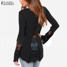 Fashion Women Spring Autumn Blusas Lace Patchwork Shirts Casual Long Sleeve O-Neck