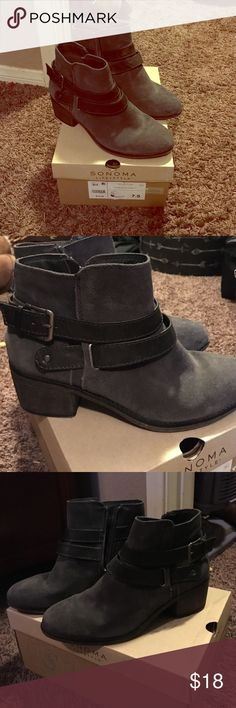 Sonoma buckle booties Charcoal grey shade booties with black strap buckles Sonoma Shoes Ankle Boots & Booties