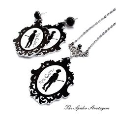 Gothic jewelry set 'The Cure. For more items,visit https://www.etsy.com/shop/SpiderStratagem #thecurenecklace #thecureearrings #thecure #gothicjewelry #gothicnecklace #gothicearrings