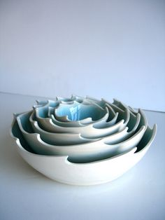 Ocean Waves Aqua In White Porcelain Nesting Bowls by NewMoonStudio