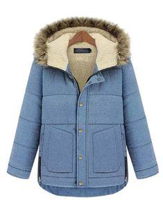 Formal Styled Denim Jacket With Hood