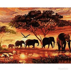 Hot Price Frameless Vintage Painting Sunset Elephant Landscape DIY Painting By Numbers Wall Art Handpainted Oil Painting On Canvas .more information please click the link Oil Painting On Canvas, Diy Painting, Canvas Wall Art, Diy Canvas, Canvas Frame, Acrylic Canvas, Painting Lessons, Canvas Paintings, Wall Art