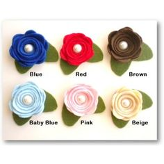 Handmade felt flowers sell in piece and value pack for craft lovers. These 100% handmade felt flowers can be glued or sewed on headbands, hairclips, brooch pins, gift boxes, bags and any other accessories you can think of.    Product Descriptions    Color: 6 assorted colours     Materials: Felt, pearl and glue    Dimension: Each felt flower approx. 4cm in diameter
