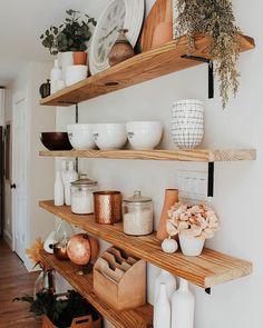 62 simple but practical DIY shelves decorations ideas - Wohnküche - Shelves in Bedroom Home Design, Interior Design, Design Ideas, Interior Styling, Cute Home Decor, Kitchen Shelves, Kitchen Storage, Dining Room Shelves, Storage Shelves