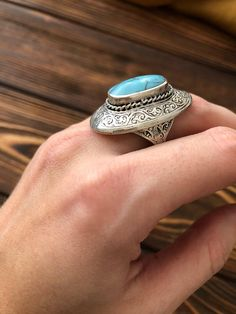 #Vintage elegant #ring, #oval shaped #blue #turquoise ring, #Afghan #ethnic ring, #Wiccan jewelry, #boho #tribal style, #Navajo tribal
