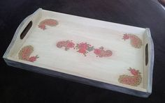 I would like to offer a beautiful and elegant wooden tray. Handmade, decoupage decorated and painted finished with matte varnish for a non stick surface. It will be an adorable decoration of every table. Ideal as a gift for any occasion. Measurements: 40cm x 3,5cm - 6,5cm high Feel
