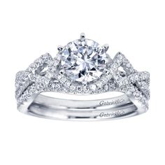 Gold and Gems - 14k White Gold Contemporary Criss Cross Engagement Ring and Matching Curved Wedding Band from Gabriel