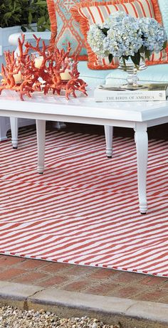 Soften and define outdoor spaces with our Rosston Stripe Outdoor Area Rug.  | Frontgate: Live Beautifully Outdoors