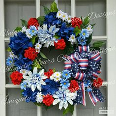 Check out this item in my Etsy shop https://www.etsy.com/listing/511601926/patriotic-floral-wreath-patriotic-flag