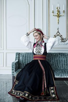 Anne Rimmen in her Telemark bunad Folk Costume, Costumes, Costume Ideas, Beautiful Norway, Scandinavian Design, Traditional Outfits, Culture, Style Inspiration, Lady